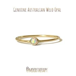 14K YGF Authentic WELO Opal Solitaire Ring